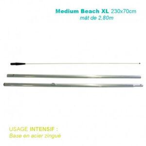 Mât Medium Beach XL 2,80M pour voile Recto-Verso 230x70CM – Usage intensif