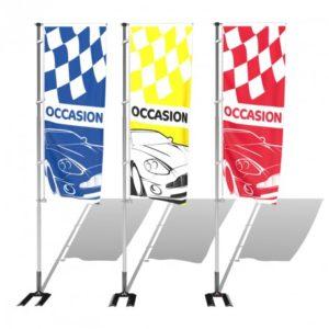 Kit drapeau occasion S1 avec mât et pied autocal